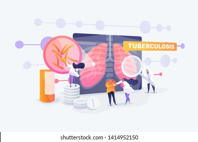 Pneumonia treatment, bronchitis cure. Respiratory contagious viral infection. Tuberculosis, mycobacterium tuberculosis, world tuberculosis day concept. Vector isolated concept creative illustration