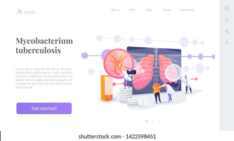 Pneumonia treatment, bronchitis cure. Respiratory contagious viral infection. Tuberculosis, mycobacterium tuberculosis, world tuberculosis day concept. Website homepage header landing web page