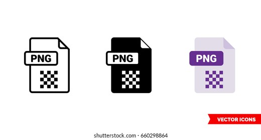 PNG file icon of 3 types: color, black and white, outline. Isolated vector sign symbol.