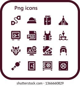 png icon set. 16 filled png icons.  Collection Of - Chest expander, Pamela, Shin guards, Hallgrimskirkja, Safebox, Psd, Bulletproof, Flyboard, Hannya, Videocall, Salver, Coif