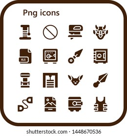 png icon set. 16 filled png icons.  Simple modern icons about  - Scratcher, Forbbiden, Fretsaw, Hannya, Xls, Safebox, Kunai, Tesla coil, Gym station, Fennec, Chest expander, Jpg