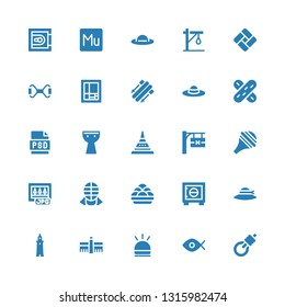 png icon set. Collection of 25 filled png icons included Gallows, Fisheye, Hooter, Tate modern, Smeaton, Pamela, Safebox, Kanji vadas, Kendo, Jpg, Nasal aspirator, Hotel signal