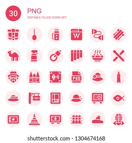 png icon set. Collection of 30 filled png icons included Belt pouch, Awl, Quiver, Wikipedia, Chest expander, Dromedary, Desinfectant, Gallows, Panpipe, Sandesh, Heisenberg, Holsten