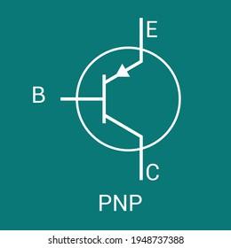 PNP transistor schematic symbol vector