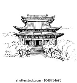 "The Po Lin monastery on Lantau island. Hong Kong.Its name means ""Precious Lotus"".The main entrance to Po Lin Monastery, a Buddhist monastery, located on Ngong Ping.Sketch.Vector illustration."