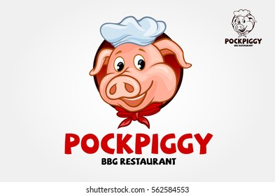 Pock Piggy Vector Logo Cartoon Character. A cute and modern Pork Barbeque Logo Illustration. This could be used in barbeque stations, outdoor bbq, grill, restaurant, steakhouse and etc.