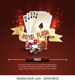 Pocker casino gambling set with cards chips and royal flash ribbon on red background vector illustration