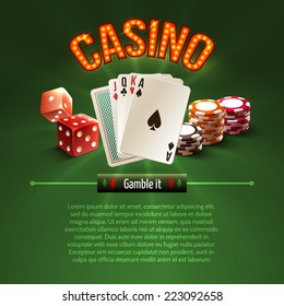 Pocker casino gambling set with dice cards chips on green background vector illustration