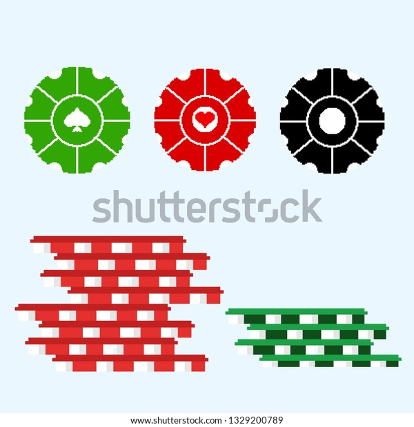 Pocker Chip Pixel Art Vector Illustration Royalty Free