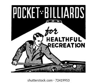 Pocket Billiards - Retro Ad Art Banner