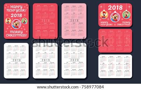 Pocket Calendar 2018 2019 2020 Cute Stock Vektorgrafik Lizenzfrei