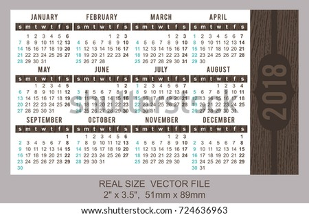 pocket calendar 2018 vector start on sunday size 2 x 35