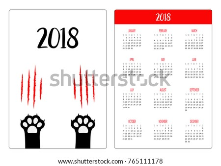 pocket calendar 2018 year week starts sunday black cat scratching paw print leg foot
