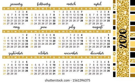 "Pocket calendar 2020, start on Sunday, vector. Decoration of gold texture. SIZE: 2"" x 3.5"", 51mm x 89mm"