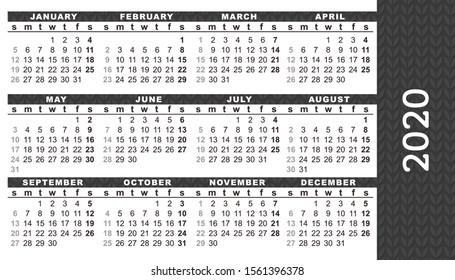 """Pocket calendar 2020, start on Sunday, vector. Black color. SIZE: 2"""" x 3.5"""", 51mm x 89mm"""
