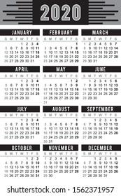 """Pocket calendar 2020, start on Sunday, vector. Black color SIZE: 2.4"""" x 3.5"""",  60mm x 90mm"""