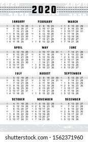 "Pocket calendar 2020, start on Sunday, vector SIZE: 2.4"" x 3.5"", 60mm x 90mm"