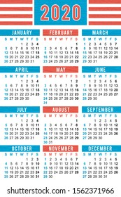 "Pocket calendar 2020, start on Sunday, vector SIZE: 2,4"" x 3,5"",  60mm x 90mm"