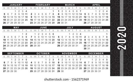 "Pocket calendar 2020, start on Sunday, vector. SIZE: 2"" x 3.5"", 51mm x 89mm"
