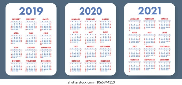 Pocket calendar template 2019, 2020 and 2021 years. Week starts on Sunday