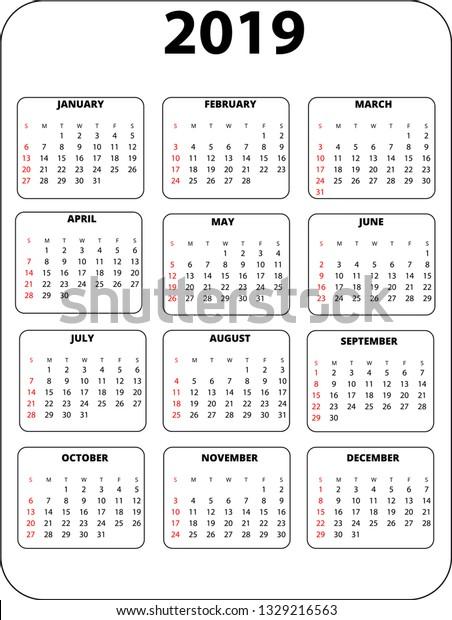 Pocket Calendar Template 2019vector Illustration Stock Image