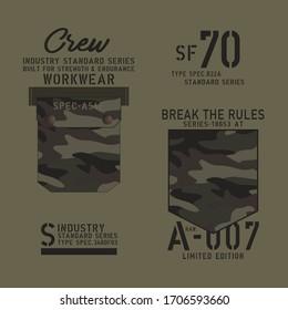 Pocket camouflage typography, tee shirt graphics, vectors
