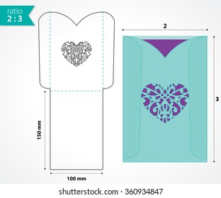 Die Cut Vector Envelope Template Standard Stock Vector - Wedding invitation envelope template free