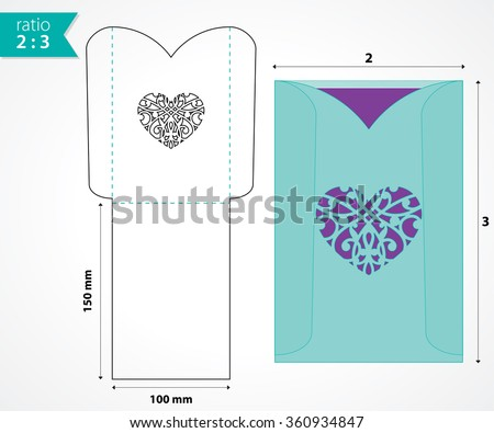 pocket envelope template die cut heart stock vector royalty free