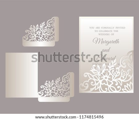 pocket fold invitation template floral wedding stock vector royalty
