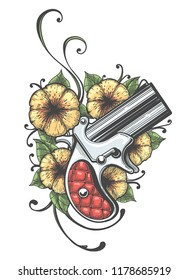 Pocket Gun and Flowers drawn in tattoo style. Vector illustration.