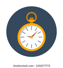 pocket watch flat icon. You can be used pocket watch icon for several purposes like: websites, UI, UX, print templates, presentation templates, info-graphics, web and mobile phone apps.