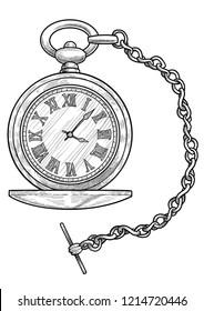 Pocket watch illustration, drawing, engraving, ink, line art, vector