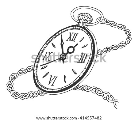 Pocket Watch Isolated On White Background Stock Vector ...