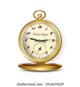 Pocket watch reflective gold-rimmed with lid. For design projects, banners and printed products.