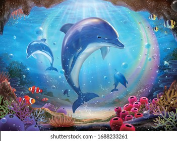 Pod of lovable dolphins chasing one another in colorful tropical ocean with beautiful rainbow encircling, 3d illustration