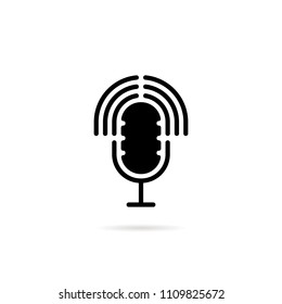podcast black logo with speaker. concept of on air record for entertainment and transmit sound voice and music. flat simple retro style logotype graphic art design element isolated on white background