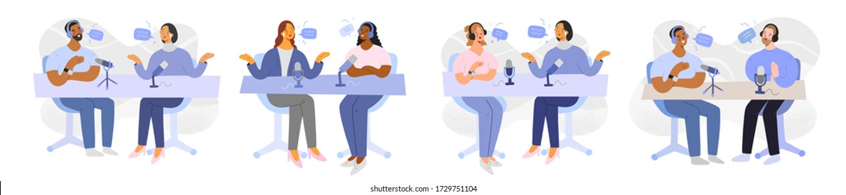 Podcast collection, characters talking discussing, recording a podcast, women and man with headsets and mics on air radio stream, flat vector illustration, cartoon humans, hosts and guests