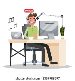 Podcast concept. Idea of podcasting studio and man in headphone chatting with microphone and record. Radio or digital media. Isolated vector cartoon illustration