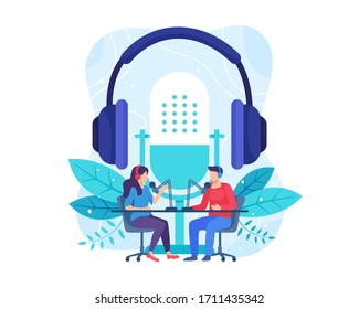 Podcast concept illustration. Female radio host interviewing guests on radio station. Podcast in studio flat vector illustration. Man and woman in headphones talking. Vector in flat style