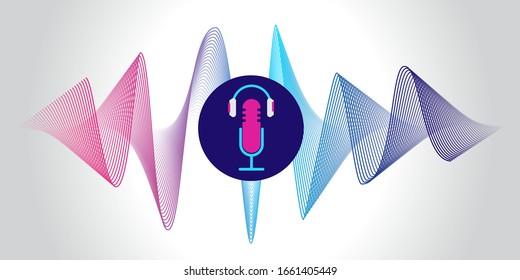 Podcast concept illustration. Music, webinar, online training concept vector illustration