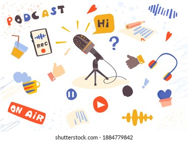 Podcast concept, live broadcast, on air. Podcast background with microphone, broadcast themes. Isometric vector illustration, online podcasting, radio. Flat vector illustration