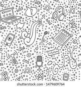 Podcast doodle pattern with computer, microphone, headphones,phone, notebook. Online education and podcasts background outline. Pattern for site, wallpaper, app, wrapping, background. Broadcast.