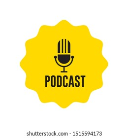 Podcast icon flat design. Vector illustration.