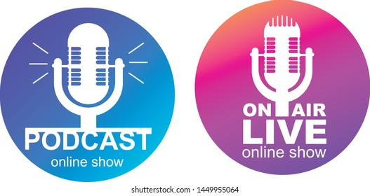 Podcast icon like on air live. Podcast. Badge, icon, stamp, logo. Radio broadcasting or streaming. Vector stock illustration.