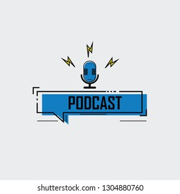 Podcast. icon, logo design. Modern flat style vector illustration