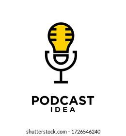 podcast idea bulb logo icon design vector