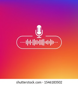 Podcast line button white colored on gradient background. Vector illustration.
