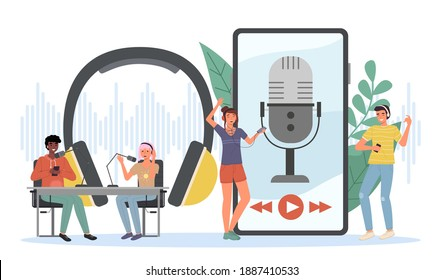Podcast listening. Happy young people listen online radio, recording equipment, man and woman talk live, headphones and microphones in studio, webinar streaming smartphone app. Vector cartoon concept