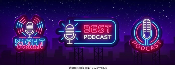 Podcast Neon sign collection vector design template. Podcast neon logo, light banner design element colorful modern design trend, night bright advertising, bright sign. Vector illustration. Billboard