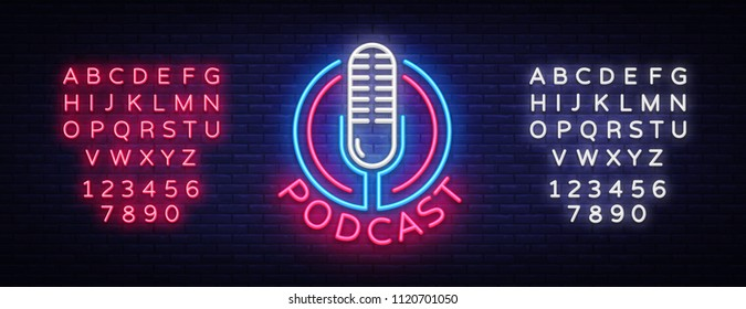 Podcast Neon sign vector design template. Podcast neon logo, light banner design element colorful modern design trend, night bright advertising, bright sign. Vector. Editing text neon sign